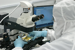 Stock photo of a scientist using a high powered microscope to analyze samples at NASA's Stardust Lab in Houston Texas