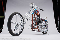 A purple/multicolor 1980 shovelhead built by Vincent Rivero of Split Image Customs (SIK) in Hanford, CA. Photographed by Michael Lichter at the Sacramento Easyriders Show on January 16, 2015. ©2015 Michael Lichter.