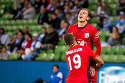 February 9, 2019 - Melbourne, VIC, U.S. - MELBOURNE, AUSTRALIA - February 09 : Craig Goodwin of Adelaide United  and Lachlan Wales of Melbourne City  celebrate during round 18 of the Hyundai A-League Series between Melbourne City and Adelaide United on February 9 2019, at AAMI Park in Melbourne, Australia. (Photo by Jason Heidrich/Icon Sportswire) (Credit Image: © Jason Heidrich/Icon SMI via ZUMA Press)