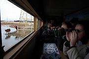 Birdspotters peer through binoculars in a hide at the the RSPB's bird and wildlife reserve at Rainham Marshes, Essex.