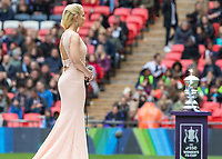 Football - 2019 SSE Women's FA Cup Final - Manchester City vs. West Ham United<br /> <br /> Laura Payne prepares to sing the National Anthem ahead of  kick off at Wembley Stadium.<br /> <br /> COLORSPORT/DANIEL BEARHAM