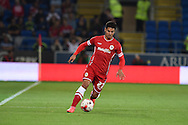 Javi Guerra of Cardiff city in action. Skybet football league championship match, Cardiff city v Middlesbrough at the Cardiff city stadium in Cardiff, South Wales on Tuesday 16th Sept 2014<br /> pic by Andrew Orchard, Andrew Orchard sports photography.