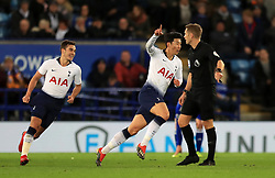 Tottenham Hotspur's Son Heung-min (centre) celebrates scoring his side's first goal of the game