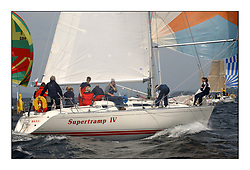 Yachting- The first days inshore racing  of the Bell Lawrie Scottish series 2002 at Tarbert Loch Fyne. Near perfect conditions saw over two hundred yachts compete. <br />Supertramp IV Sigma 38 6461C/6451C class 3<br />Pics Marc Turner / PFM