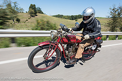 Doug Jones of Georgia on his 1914 Indian during the Motorcycle Cannonball Race of the Century. Stage-3 from Morgantown, WV to Chillicothe, OH. USA. Monday September 12, 2016. Photography ©2016 Michael Lichter.