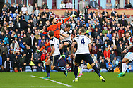Tottenham Hotspur Goalkeeper Hugo Lloris punches the ball clear. Premier League match, Burnley v Tottenham Hotspur at Turf Moor in Burnley , Lancs on Saturday 1st April 2017.<br /> pic by Chris Stading, Andrew Orchard sports photography.