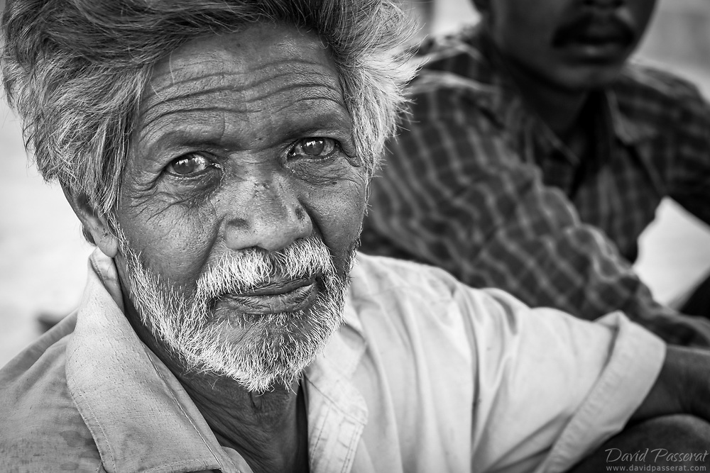 indian farmer portrait in black and white.