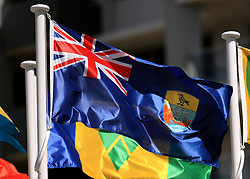 The flag of Saint Helena on a pole at the Commonwealth Games