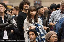 Crowd at the awards ceremony at the Mooneyes Yokohama Hot Rod & Custom Show. Yokohama, Japan. December 3, 2016.  Photography ©2016 Michael Lichter.