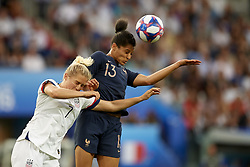 June 28, 2019 - Paris, France - Abby Dahlkemper (NC Courage) of United States and Valerie Gauvin (Montpellier HSC) of France battle for the ball during the 2019 FIFA Women's World Cup France Quarter Final match between France and USA at Parc des Princes on June 28, 2019 in Paris, France. (Credit Image: © Jose Breton/NurPhoto via ZUMA Press)