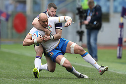 March 17, 2018 - Rome, RM, Italy - Sergio Parisse of Italy fight for the ball during the Six Nations 2018 match between Italy and Scotland at Olympic Stadium on March 17, 2018 in Rome, Italy. (Credit Image: © Danilo Di Giovanni/NurPhoto via ZUMA Press)