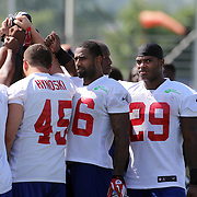 Running back Michael Cox (right), during the 2013 New York Giants Training Camp at the Quest Diagnostics Training Centre, East Rutherford, New Jersey, USA. 29th July 2013. Photo Tim Clayton.