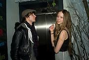 MATTHEW LASKEY AND MORWENNA, Beyond the Rave, Celebration of Hammer Film's  first horror movie broadcasr on MYSpace. Shoreditch House. London. 16 April 2008.  *** Local Caption *** -DO NOT ARCHIVE-© Copyright Photograph by Dafydd Jones. 248 Clapham Rd. London SW9 0PZ. Tel 0207 820 0771. www.dafjones.com.