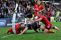 Chris Pennell of Worcester Warriors scores the opening try of the match - Photo mandatory by-line: Patrick Khachfe/JMP - Mobile: 07966 386802 27/05/2015 - SPORT - RUGBY UNION - Worcester - Sixways Stadium - Worcester Warriors v Bristol Rugby - Greene King IPA Championship Play-off Final (Second leg)