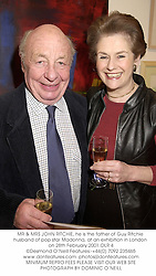 MR & MRS JOHN RITCHIE, he is the father of Guy Ritchie husband of pop star Madonna, at an exhibition in London on 28th February 2001.OLR 4