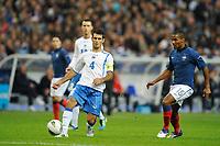 FOOTBALL - UEFA EURO 2012 - QUALIFYING - GROUP D - FRANCE v BOSNIA - 11/10/2011 - PHOTO GUY JEFFROY / DPPI - EMIR SPAHIC (BOS) / FLORENT MALOUDA (FRA)