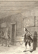 Stephen Gray (1666-1736) English scientist born at Canterbury, Kent, credited with the discovery of the flow of electricity.  Artist's impression of Gray passing electricity from a glass globe electrostatic machine down a 44.8 metere (147 feet) length of packthread (1729).  Engraving from 'A Popular History of Science'  by Robert Routledge (London, 1881).