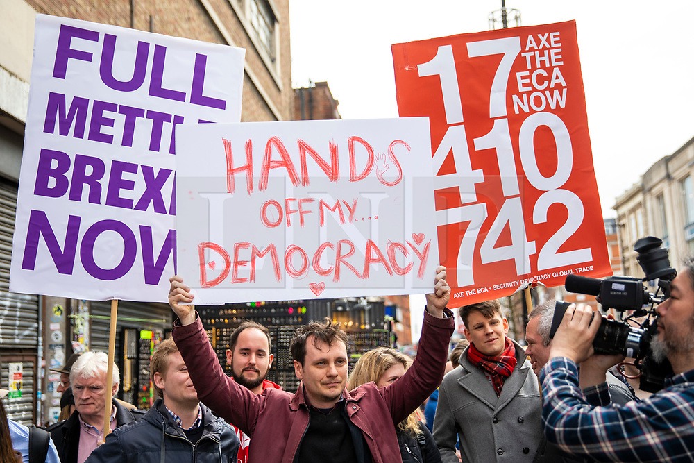 © Licensed to London News Pictures. 15/04/2018. London, UK. Pro-Brexit protesters outside the Electric Ballroom in Camden before the launch event for the People's Vote campaign which is calling for a public vote on the final Brexit deal. Photo credit: Rob Pinney/LNP