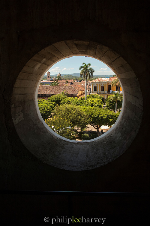 View of Granada town from Interior, Our Lady of the Assumption Cathedral also called Granada Cathedral, Granada, Nicaragua.