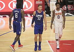 October 21, 2017 - Los Angeles, California, U.S - (L-R) DeAndre Jordan #6, Blake Griffin #32 of the Los Angeles Clippers and Marquese Chriss #0 of the Phoenix Suns during their regular season game on Saturday October 21, 2017 at the Staples Center in Los Angeles, California. Clippers defeat Suns, 130-88. (Credit Image: © Prensa Internacional via ZUMA Wire)