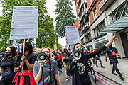 """The Black Lives Matter movement gathered people in Marble Arch in Central London on Sunday, July 19, 2020, to protest against systematic racial injustice in Britain. """"Black people account for 3% of the population, but 8% of deaths in custody,"""" said a former chief prosecutor Nazir Afzal in an article published by the Guardian. He continues to say """"I know this is only the endpoint of a system that disproportionately suspects, arrests, convicts and imprisons BAME people."""" (VXP Photo/ Vudi Xhymshiti)"""