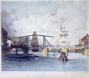 Whitby harbour, Yorkshire, at the mouth of the river Esk, c1833. The old drawbridge, separating the upper and lower harbours, which was raised to let sailing vessels pass. This bridge was demolished 1833 to make way for a new bridge. After a drawing by Francis Pickersgill, Civil Engineer.