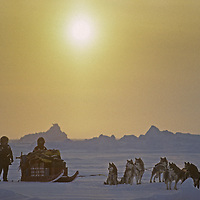 Members of the International Arctic Project begin a four-month doglesdding expedition across the Arctic Ocean to Canada - via the North Pole - at Severnaya Zemlya Island north of Russia. The days are short, the temperature  about -50 degrees F.  and ice conditions are dangerous.