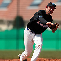 18 April 2010: Samuel Meurant of Senart pitches against Savigny during game 1/week 2 of the French Elite season won 8-1 by Savigny (Lions) over Senart (Templiers), at Parc municipal des sports Jean Moulin in Savigny-sur-Orge, France.