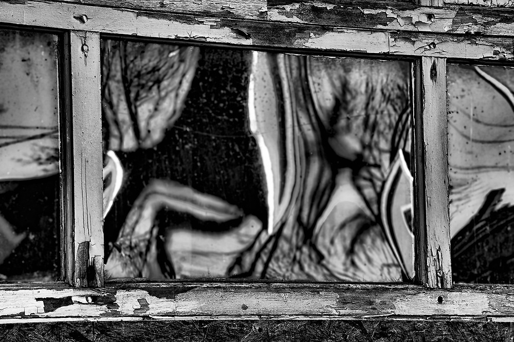 Window reflection, Lubec, Maine, USA