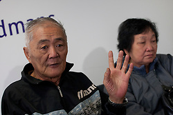 © licensed to London News Pictures. London, UK 07/05/2012. (L) Loh Ah Choi and (R) Chong Koon Ying, survivors from Batang Kali massacre, describing the massacre at press conference today at Bindmans Office before the official hearing tomorrow for the massacre in Malaysian village in 1948 by British Soldiers. Photo credit: Tolga Akmen/LNP
