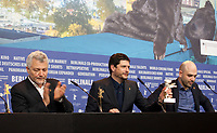 Maurizio Braucci, Claudio Giovannesi and Roberto Saviano, winner of the Silver Bear for Best Screenplay, for the adaptation of Saviano's novel Piranhas at the award winners press conference at the 69th Berlinale International Film Festival, on Saturday 16th February 2019, Hotel Grand Hyatt, Berlin, Germany.