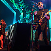 COLUMBIA, MD - June 18th, 2013 - Ben Gibbard and Jenny Lewis of the Postal Service perform at Merriweather Post Pavilion in Columbia, MD on their 10th Anniversary Give Up tour. (Photo by Kyle Gustafson)