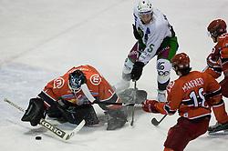 Goalkeeper of Jesenice Dov Grumet-Morris vs Egon Muric of Olimpija at 14th Round of EBEL league  ice hockey match between HK Acroni Jesenice and HDD Tilia Olimpija Ljubljana, on October 16, 2009, in Arena Podmezaklja, Jesenice. (Photo by Vid Ponikvar / Sportida)