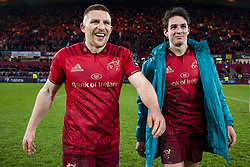 December 30, 2018 - Limerick, Ireland - Andrew Conway and Joey Carbery of Munster celebrate during the Guinness PRO14 match between Munster Rugby and Leinster Rugby at Thomond Park in Limerick, Ireland on December 29, 2018  (Credit Image: © Andrew Surma/NurPhoto via ZUMA Press)