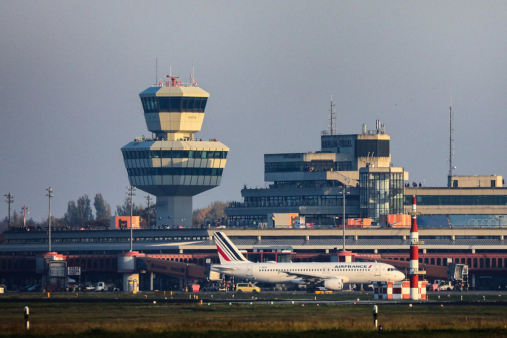 A view of Tegel Airport (TXL) prior to the final departure of an AIRFRANCE plane (Bottom R) made from the historic airport, Berlin, Germany, November 8, 2020. After more than 60 years Berlin's tiny northern airport is set to shut down all operations, with a final departure flight by AirFrance to Paris. (Photos by Omer Messinger)