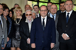 Paris mayor Anne Hidalgo, singer Charles Aznavour, French President Francois Hollande and the French Armenian delegation during a breakfast hosted by French Ambassador to Armenia Jean-Francois Charpentier at his residence, as part of the Armenian Genocide Centennial Commemoration, in Yerevan, Armenia on April 24, 2015. Photo by Nicolas Briquet/ABACAPRESS.COM