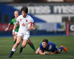Englands Reece Dunn<br /> Photographer Mike Jones/Replay Images<br /> <br /> England U18s v France U18s<br /> Six Nations, Sunday 8th April 2018, <br /> Cardiff Arms Park, Cardiff, <br /> <br /> World Copyright © Replay Images . All rights reserved. info@replayimages.co.uk - http://replayimages.co.uk