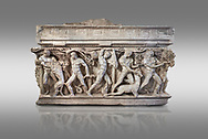 """Side panel of a Roman relief sculpted Hercules sarcophagus with kline couch lid, """"Columned Sarcophagi of Asia Minor"""" style typical of Sidamara, 250-260 AD, Konya Archaeological Museum, Turkey. Against a grey background .<br /> <br /> If you prefer to buy from our ALAMY STOCK LIBRARY page at https://www.alamy.com/portfolio/paul-williams-funkystock/greco-roman-sculptures.html . Type -    Konya     - into LOWER SEARCH WITHIN GALLERY box - Refine search by adding a subject, place, background colour, museum etc.<br /> <br /> Visit our ROMAN WORLD PHOTO COLLECTIONS for more photos to download or buy as wall art prints https://funkystock.photoshelter.com/gallery-collection/The-Romans-Art-Artefacts-Antiquities-Historic-Sites-Pictures-Images/C0000r2uLJJo9_s0"""