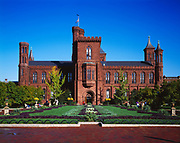 Enid a. Haupt Garden Garden and the Smithsonian Castle, Washington, District of Columbia.
