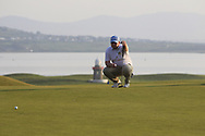 Caolan Rafferty (Dundalk) on the 18th green during Round 3 of The West of Ireland Open Championship in Co. Sligo Golf Club, Rosses Point, Sligo on Saturday 6th April 2019.<br /> Picture:  Thos Caffrey / www.golffile.ie