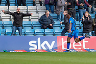 Gillingham FC forward Brandon Hanlan (7) scores a goal (1-0) and celebrates during the EFL Sky Bet League 1 match between Gillingham and Oxford United at the MEMS Priestfield Stadium, Gillingham, England on 9 March 2019.