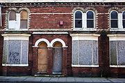 Boarded up houses near Middlesborough city centre. There are many empty properties in the area.