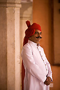 A turbaned guard at the City Palace, Jaipur, India