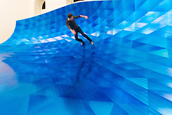 Somerset House, London, September 21st 2015. Santa Barbara -based designer Alex Rasmussen's Giant Wave which uses 7-- anodised aluminium panels thtreflect the colour and atmosphere of the Pacific Ocean, at Somerset House as part of the London Design Festival, which runs between September 19th and 27th with a series of artworks and installations created through the collaborations of internationally renowned designers and brands.  // Contact: paul@pauldaveycreative.co.uk Mobile 07966 016 296