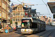 De Lijn tram travels along route 1 to Wondelgem in the historical centre of Ghent, Belgium, famous for its beautiful architecture.
