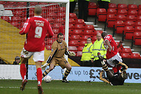 Photo: Pete Lorence.<br />Nottingham Forest v Charlton Athletic. The FA Cup. 06/01/2007.<br />Junior Agogo sends the ball into the back of the net, taking Nottingham into a 1-0 lead.