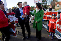 CHESHIRE, CT - 02 NOVEMBER 2010 -.U. S. Rep. Chris Murphy (D-5th), his wife Cathy and son Owen are greeted by supporters gathered in front of Cheshire High School during voting hours on Tuesday morning as Murphy arrived to vote at the school. Murphy is challenged by Conn. Rep. Sam Caligiuri (R-16th)..Photo by Josalee Thrift