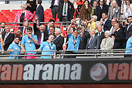 Forest Green Rovers strength and conditioning coach Tom Huelin lifts the trophy during the Vanarama National League Play Off Final match between Tranmere Rovers and Forest Green Rovers at Wembley Stadium, London, England on 14 May 2017. Photo by Shane Healey.