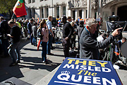 They misled the Queen placard in front of television and media outside The Supreme Court as the first day of the hearing to rule on the legality of suspending or proroguing Parliament begins on September 17th 2019 in London, United Kingdom. The ruling will be made by 11 judges in the coming days to determine if the action of Prime Minister Boris Johnson to suspend parliament and his advice to do so given to the Queen was unlawful.