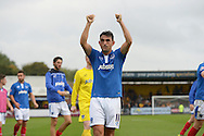 Gary Roberts of Portsmouth celebrates to the Portsmouth fans after the final whistle . Skybet football league two match, Cambridge Utd v Portsmouth at the Abbey Stadium  in Cambridge on Saturday 10th October 2015.<br /> pic by John Patrick Fletcher, Andrew Orchard sports photography.